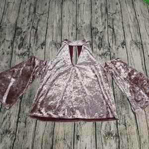 AEO Cute Pink Velvet Cold Shoulder Flare Sweater L